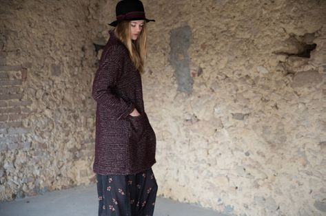 Trifoglio hat, black. Melissa jacket, prune. Evita skirt, washed black.