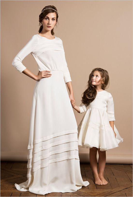 Three quarter sleeve modern bohemian gown by Delphine Manivet. ---> http://www.weddingchicks.com/2014/06/05/delphine-manivet-wedding-dresses/