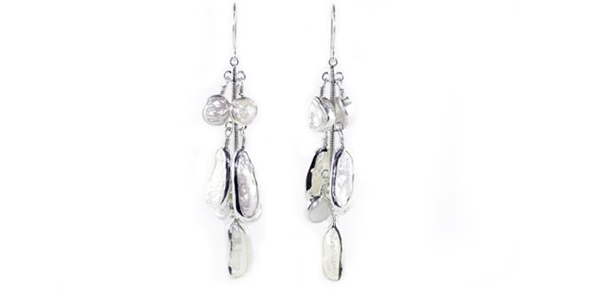 Blooming -Handmade silver earrings Material: Fresh Water Pearl, Silver 925 Dimension:Length: 8.2 cm Weight:9.0 gram Price:$ 100.00 In Stock : 2 pairs Order it here http://www.jennyjsilver.com/collection-87-Blooming