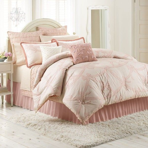 LC Lauren Conrad Soiree Comforter Set, Pink ($84) ❤ liked on Polyvore featuring home, bed & bath, bedding, comforters, pink, twin xl comforter, cotton king comforter, extra long twin comforter, pink comforter and pink twin comforter set