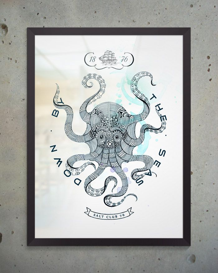 Художественный постер Octopus из коллекции Salt Club 76 формата А3 под стеклом в раме. Идеально подходит для оформления интерьера в морском стиле, будь то ресторан, личный кабинет или офис. #постеры #принты #картины #иллюстрация