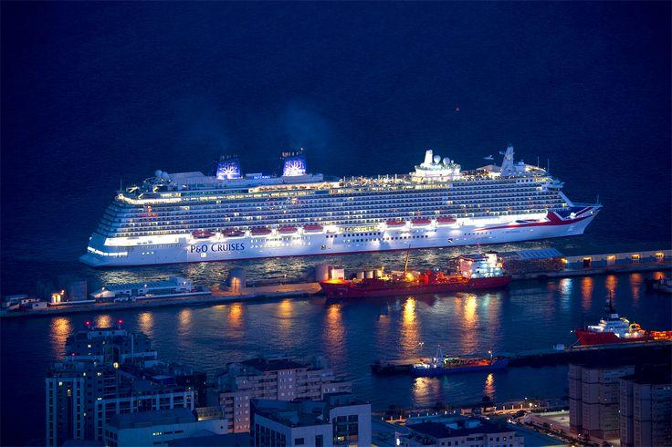 Stunning image of the Britannia in Gibraltar. Picture thanks @pandocruises  #Britannia #Cruise #Gibraltar