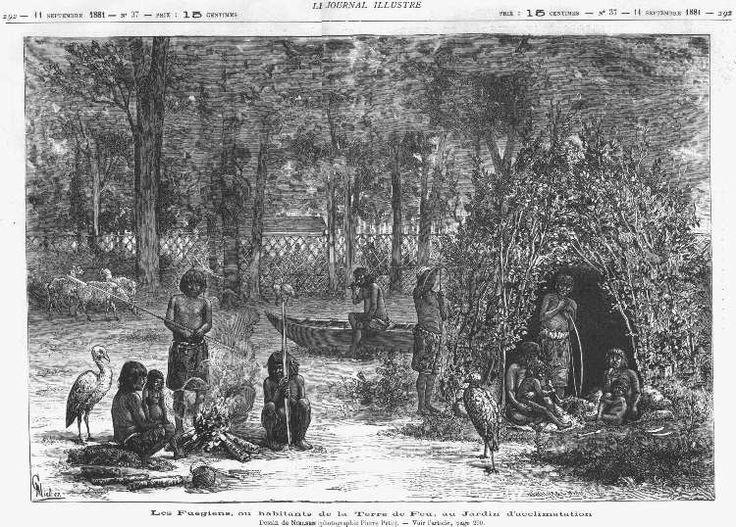 Fueguinos en la exposición parisina del Jardin d'Acclimation sobre la Tierra de fuego, agosto-septiembre 1881