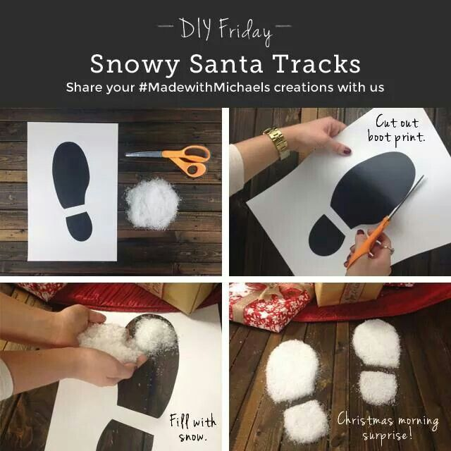 DIY santa tracks! I love this idea. It remunds me of when i was a kid my mom put easter bunny foot prints up the stairs to our bedrooms where our baskets were so when we woke up we thought the easter bunny came.....well, ar least my brother did. I had my detectives hat on.