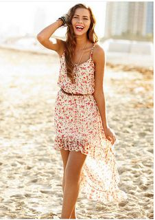 casual summer dress w/ brown leather belt