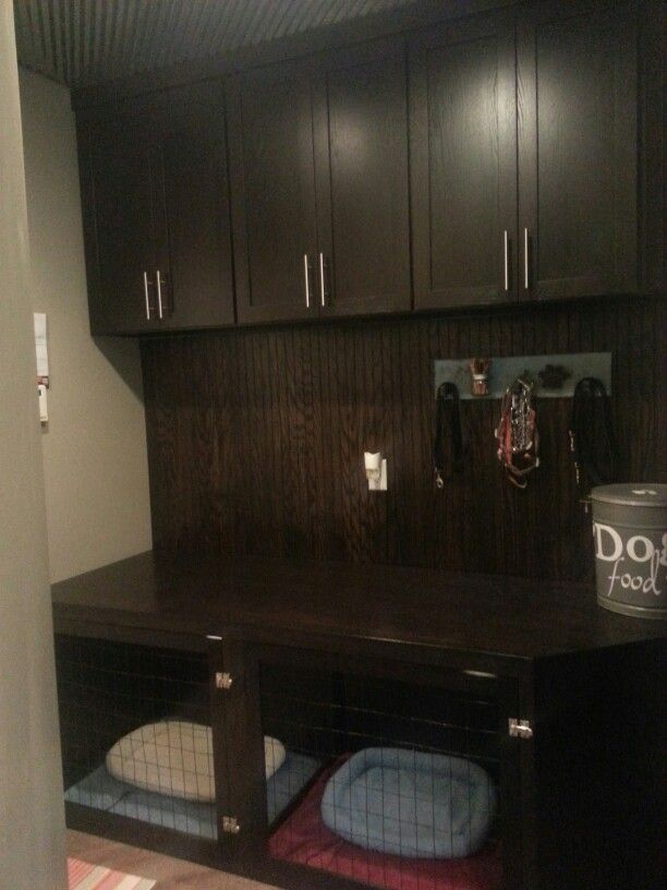 Mudroom With Built In Dog Kennels Cabinets Dog Rooms