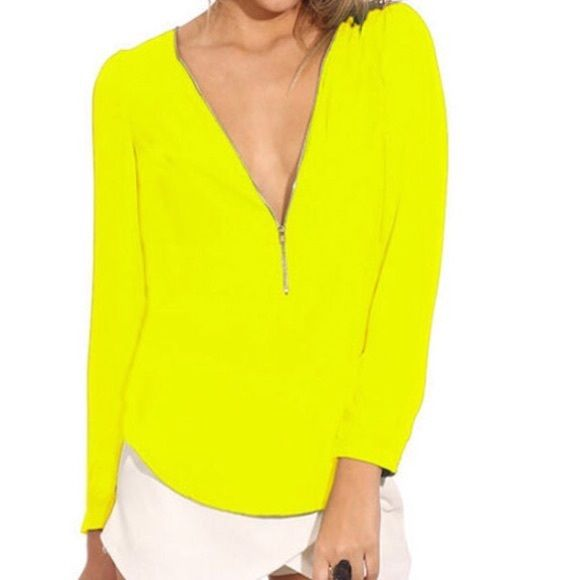 "Versatile neon yellow zip up chiffon blouse Gorgeous chiffon tops with zip up front for as much or little coverage as you want!   Small: Bust 16"" / Length 24"" / Sleeve 23"" Medium: Bust 17"" / Length 25"" / Sleeve 23"" Large: Bust 18"" / Length 26"" / Sleeve 23.5"" Extra Large: Bust 19"" / Length 26"" / Sleeve 24""  Fit: Slightly small,  see measurements.  Material: Cotton/Polyester  Condition: NWOT Tops Blouses"