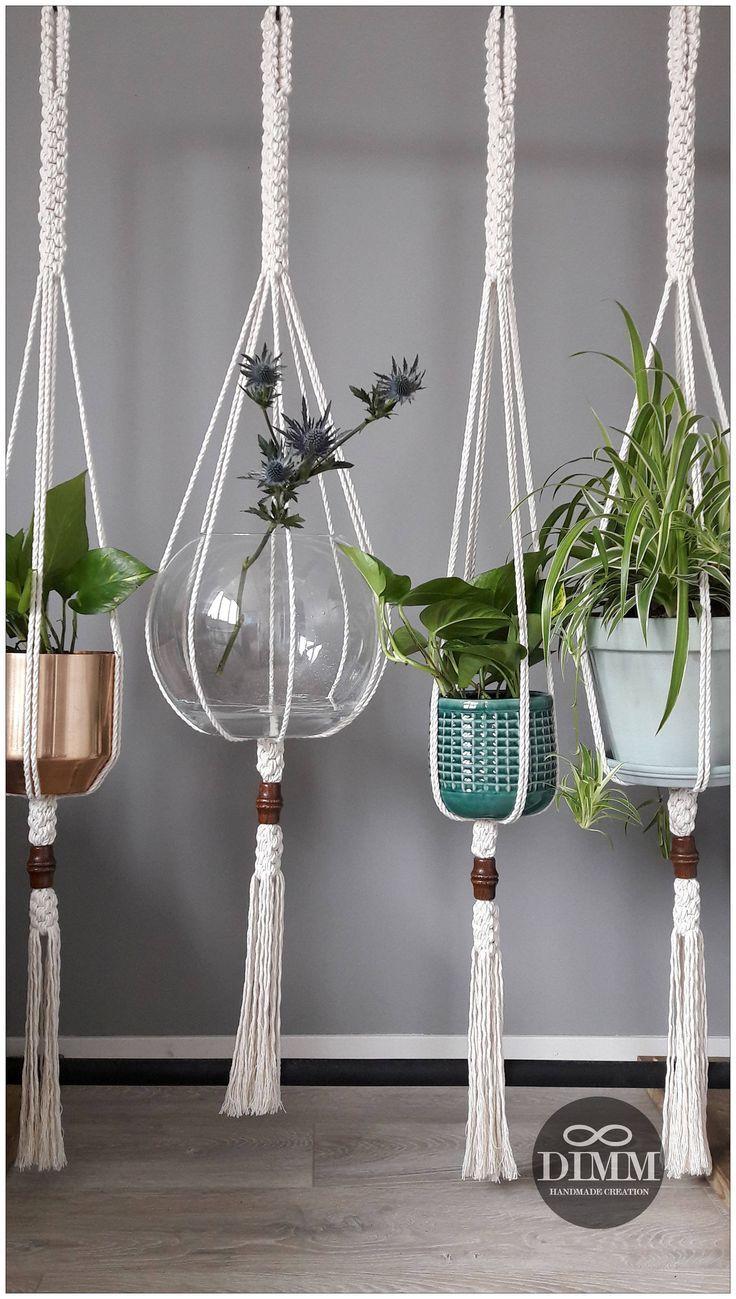 Cotton macrame plant hanger Beaded hanging planter