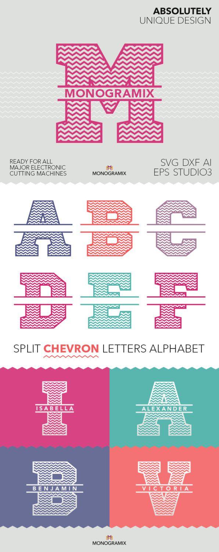Split Chevron lettres Alphabet Ai EPS SVG DXF Studio par Monogramix