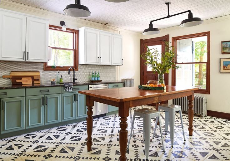 inspo - chalk paint used in entire kitchen remodel, including floor!