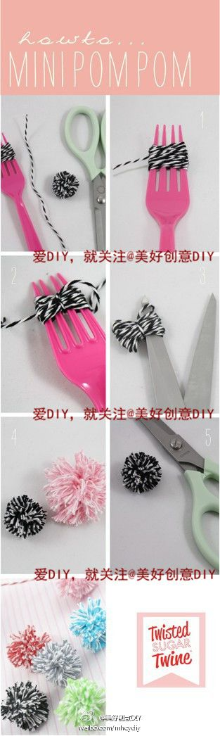 cute craft idea: Baker Twine, Forks, Pom Poms, Pom Pom Tutorials, Minis Dog Qu, Diy'S Crafts, Cats Toys, Crafts Idea, Minis Pompom