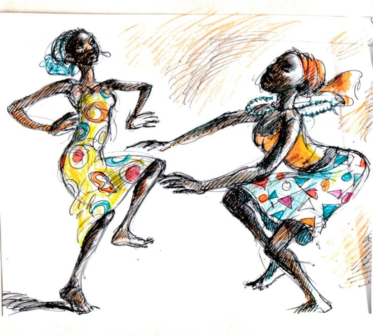 Two Dancers | Pen Drawing