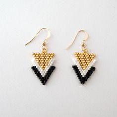 Boucles d'oreilles chevrons en perles miyuki noir doré blanc★ or gold filled