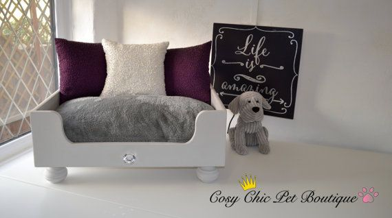Raised Dog Cat Bed Small Grey Dog or Cat от CosyChicPetBoutique