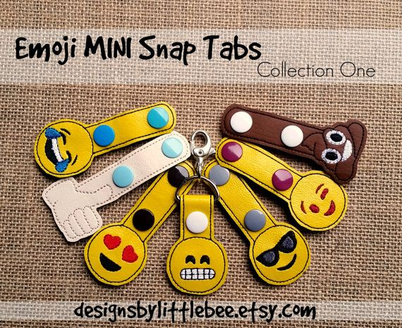 Collection One SET face emoji MINI snap tab key fob keychain embroidery design sew pes dst +more Instant Download! bean stitch