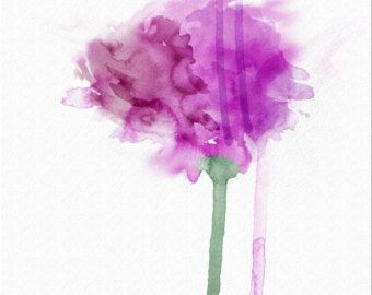 Abstract Art Print digital watercolor flower Emerge 8.5x11 by Lindsey Cormier