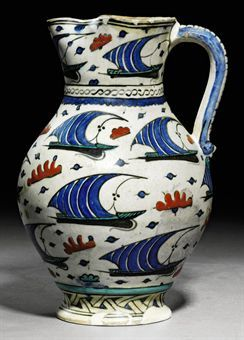 """""""AN IZNIK POTTERY JUG   OTTOMAN TURKEY, CIRCA 1560"""""""" ------> Check pattern, and where this jug is. Pattern looks like one used on a large mug (also 16th century Ottoman) held in the Smithsonian."
