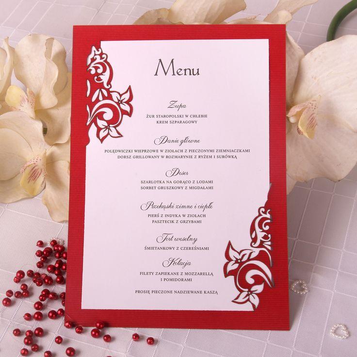 Wycinane laserowo menu weselne - motyw kwiatowy