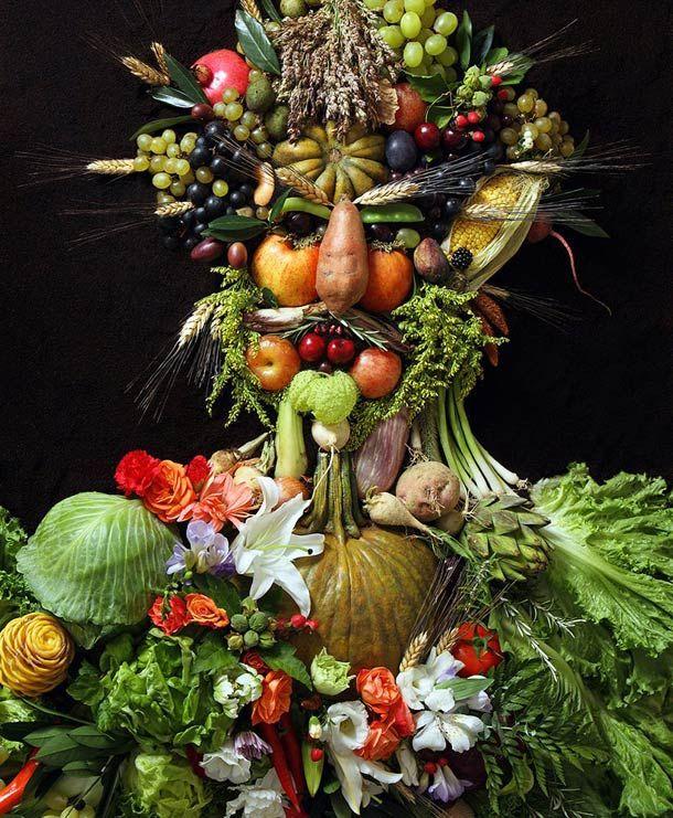 Hommage aux portraits en légumes d'Arcimboldo