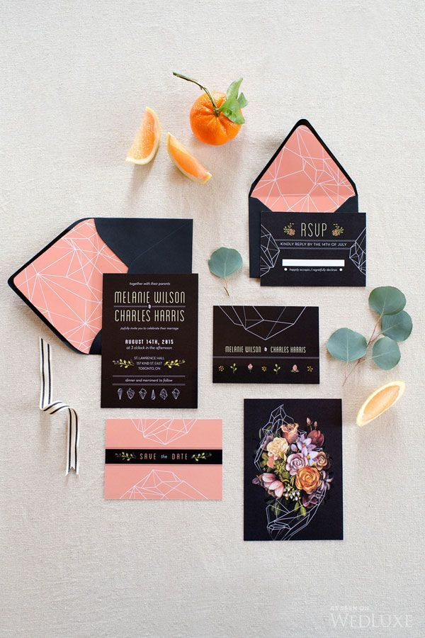 Sultry Dark Floral Wedding Ideas to Spice Things Up - wedding invitation set; Photography: Found in Love via WedLuxe | Stationery: Caitlin Russell Illustration