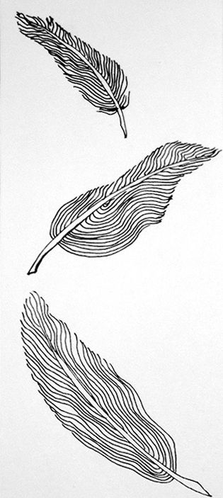 Feathers are falling from the sky like leaves on a windy day.A small drawing, almost bookmark size, with ink on paper.