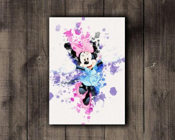 Nursery Printable Minnie Mouse Disney Watercolor by CoffeeLoffe