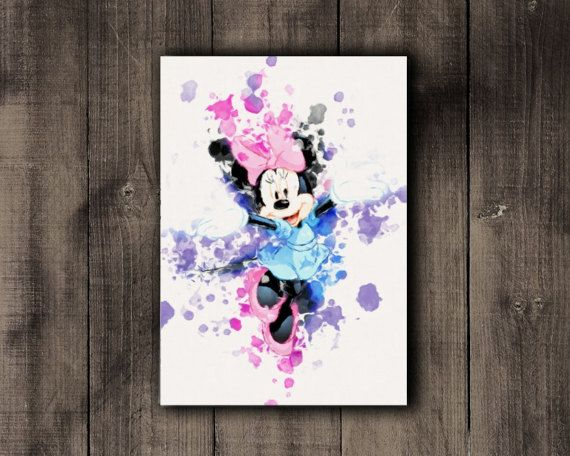 Nursery Printable Minnie Mouse Disney Watercolor by CoffeeLoffe