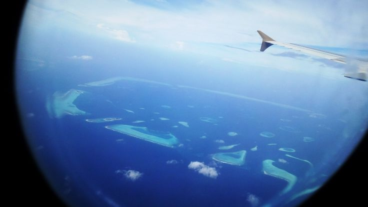 View from the plane of Maldives Islands