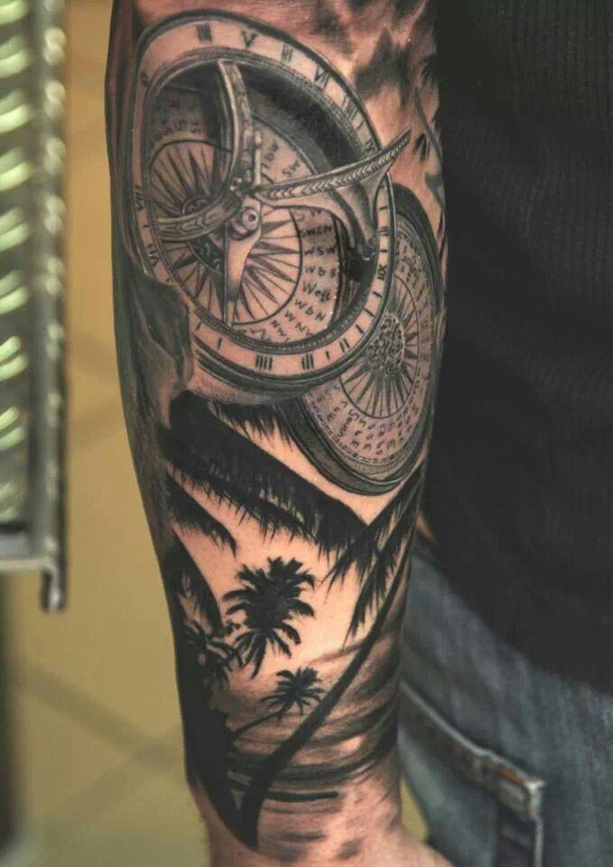Compass tattoo tatuajes para hombres en el brazo