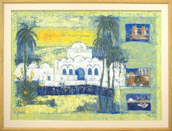 Large fine art print, green yellow blue giclee print on canvas, Marilion Fine Art, DJERBA