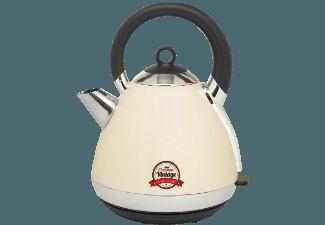 De Bestron AWK100RE waterkoker heeft een retro uiterlijk met een crèmekleurig gelakte RVS-behuizing, 1,7 liter inhoud en 2000-2400 Watt vermogen.