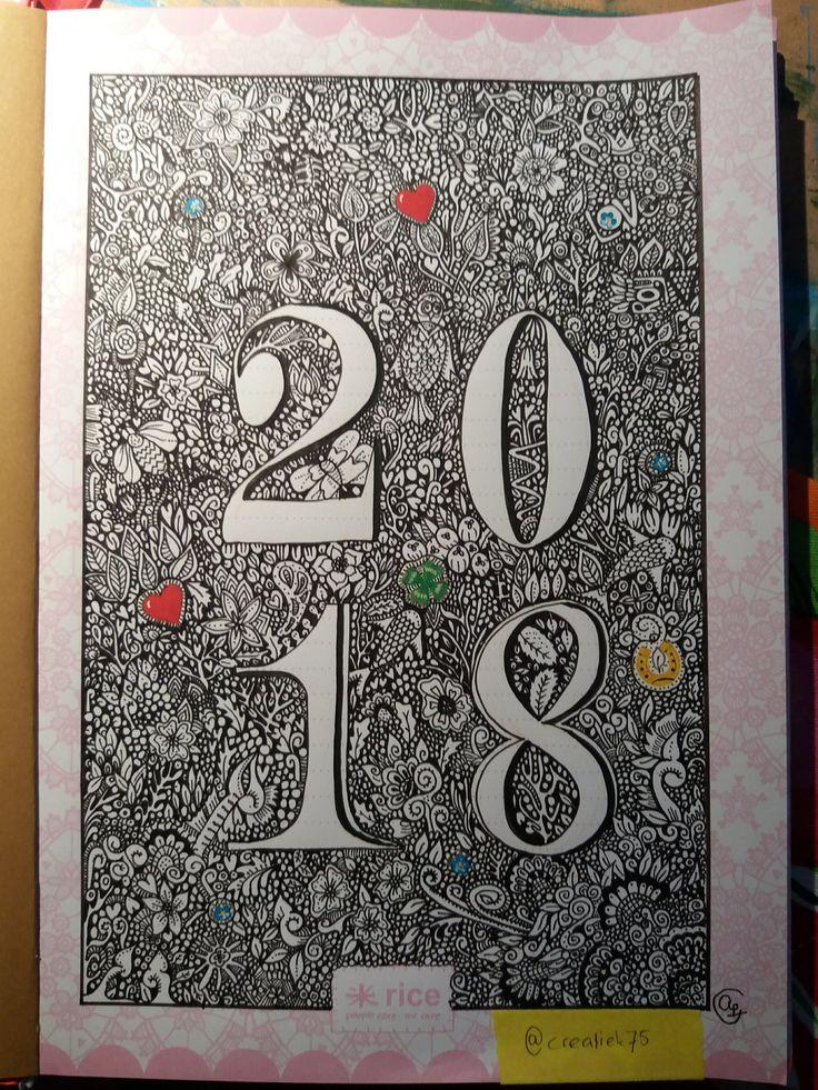 Heerlijke doodle.  Just in time. My bujo is ready for 2018! I wish everyone a creative and happy 2018. Love to be creative.  #journaling #bujobeauty #bulletjournal #artjounaling #art🎨 inspired by @visothkakvei and #denhemmeligehagen @johannabasford #hemanederland