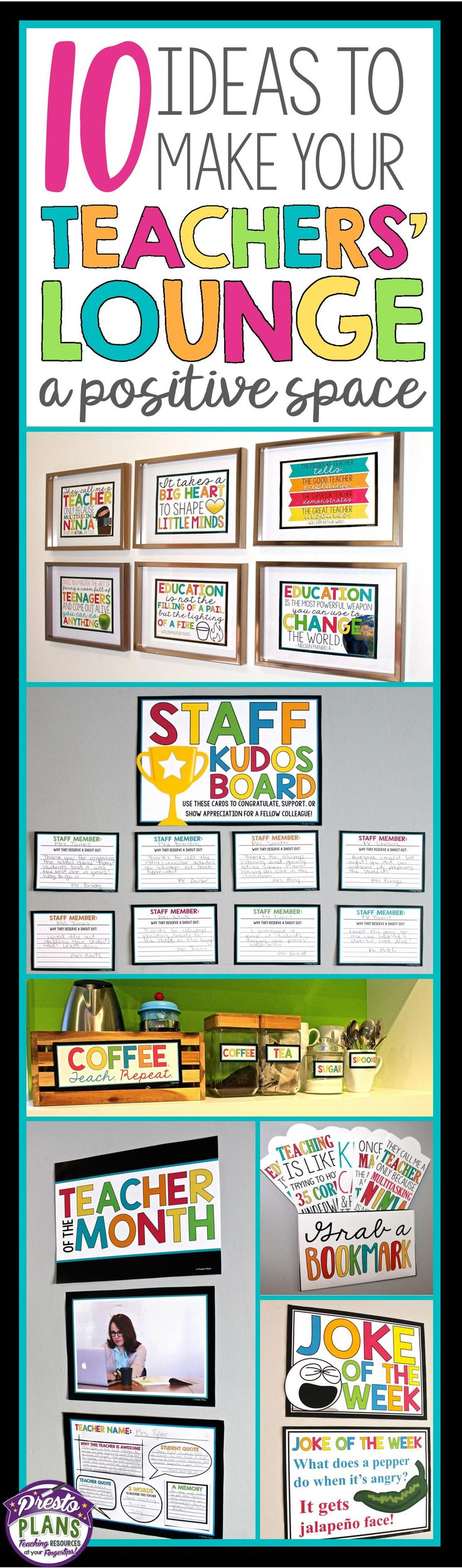 Teacher's Lounge needs a positive upgrade! http://www.giftideascorner.com/gifts-coworkers/