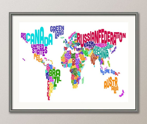 204 best world map art images on pinterest tattoo ideas world typographic text map of the world map art print 891 gumiabroncs Images