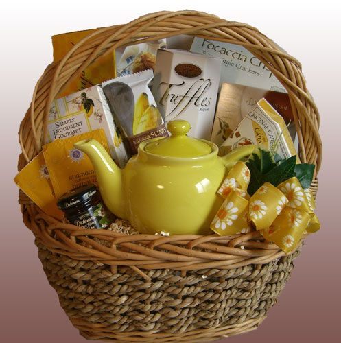 TEAriffic gift basket. Add your favorite tea or samples and a teapot or even a tea cup.