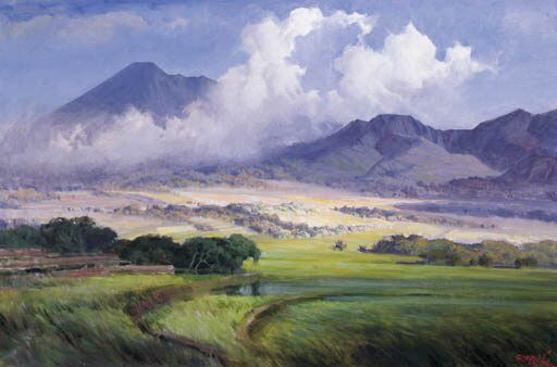"""R BASOEKI ABDULLAH (Indonesia 1915-1993) Sawahs by Salatiga signed and dated """"BAbdullah, 57"""" (lower right) oil on canvas 32 x 48 in. (81 x 122 cm)"""