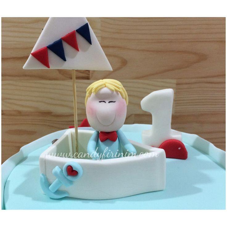 Fondant sailor cake topper