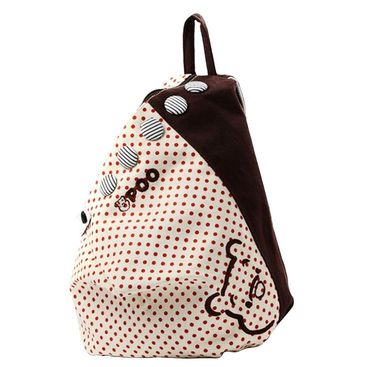Bohemian Style Cute Dot Printed Button Decor Backpack Schoolbag Students Canvas For Teenage GirlsHB88  #Happy4Sales #handbags #bagshop #shoulderbags #L09582 #YLEY #backpack #fashion #bag #kids