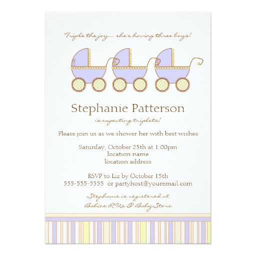 Trio Carriage Triplet Baby Boys Shower Invitation