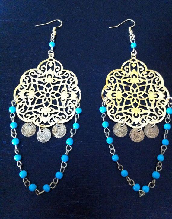Bohemian Gypsy Earrings 4.5 India exotic Belly by RedGypsyJewelry