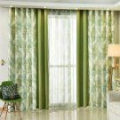 JuneJour 1 Panel Thermal Insulated Blackout Curtain Leaves Printing Soft Eyelet Thicker Window Drapery Home Decoration for Bedroom Dorm (245x140cm, Green Right)