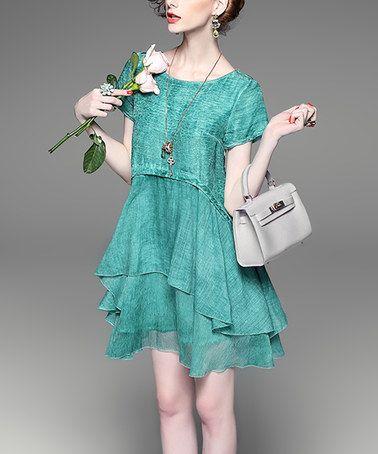 Loving this Green Silk-Blend Layer Drop-Waist Dress on #zulily! #zulilyfinds