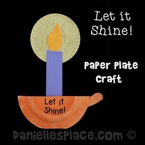 """""""Let it Shine!"""" Candle Holder and Candle Paper Plate Craft from www.daniellesplace.com Copyright 2014"""