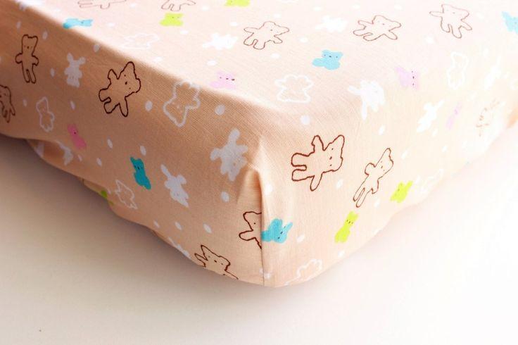Fitted crib sheet, cot sheet, Light brown, Teddy bears, Nursery, Bedding, Standard size