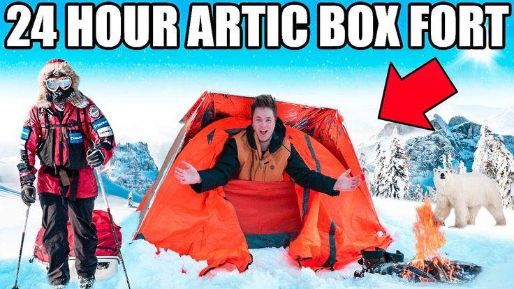 24 HOUR ARCTIC BOX FORT CHALLENGE!! 📦❄️ Snow Fort, Survival & More!