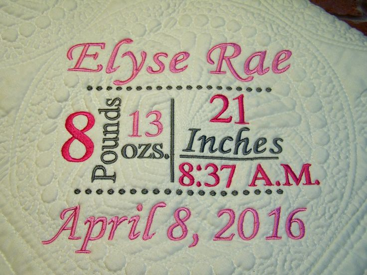 164 best embroidered baby blanket images on pinterest baby personalized quilt baby blanket birth annocement baby gift crib blanket quilted negle Image collections