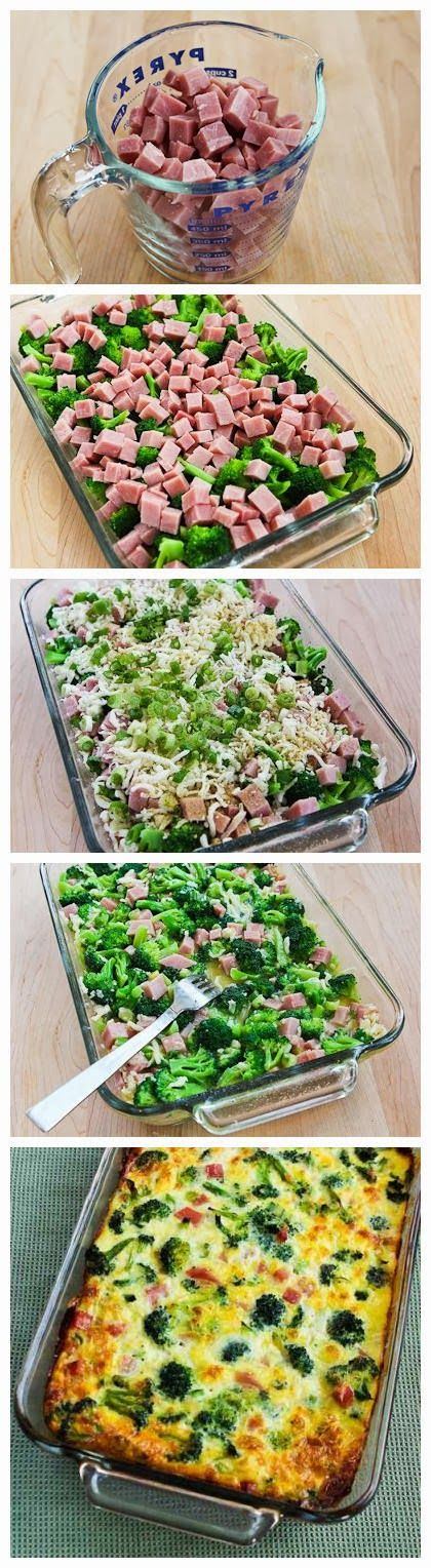 Broccoli, Ham, and Mozzarella Baked with Eggs ~ Focuseat