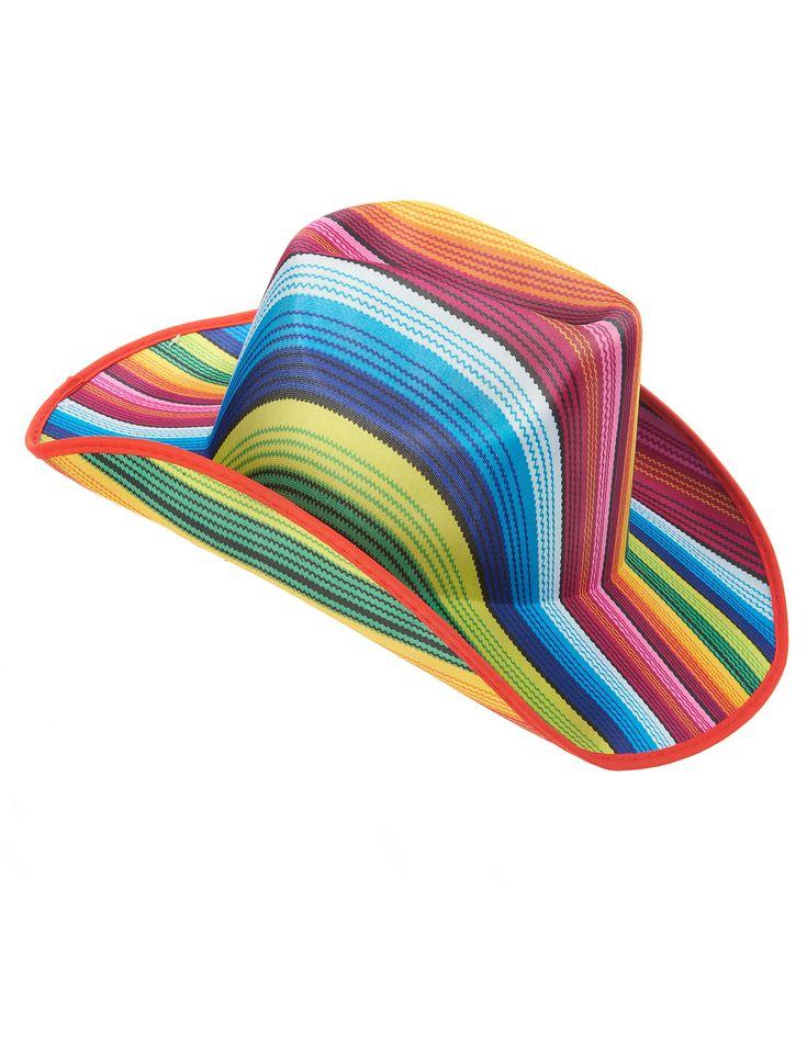 Sombrero cowboy multicolor rayas adulto: Este sombrero de vaquero es para adulto.Tiene rayas multicolores. El contorno de cabeza es de 59 cm.Este sombrero original completará tus disfraces de vaquero.