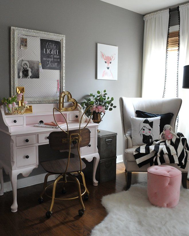antique inspired furniture. this sweet little vintage style pink desk and bunny ear chair add a whimsical touch to black gray girls room fun accessories from antique inspired furniture r