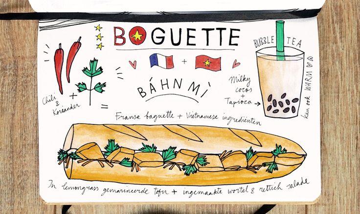 Boguette in Rotterdam serveert Vietnamees-Franse broodjes. Je blijft terugkomen voor de frisse, zoetzure báan mì's en bubbel tea's aan de Botersloot.